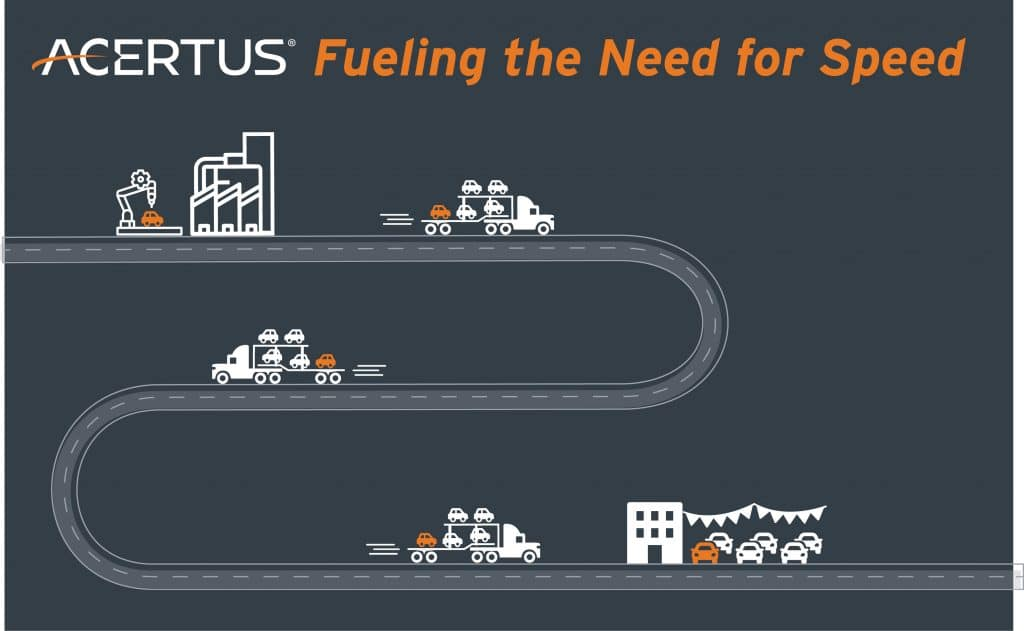 Transport from OEM to car dealership. Fueling the need for speed.